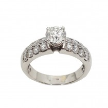 Ladies PRE OWNED 18ct White Gold & Diamond Solitaire Ring with Diamond Set Shoulders