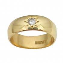 Ladies PRE OWNED 18ct Yellow Gold & Diamond Gypsy Style Ring