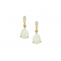 LADIES 9CT YELLOW GOLD, DIAMOND & OPAL TEARDROP EARRINGS