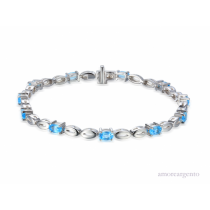 Ladies Sterling Silver & Blue Topaz Bracelet