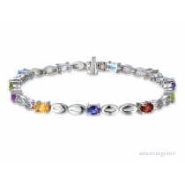 Ladies Sterling Silver & Mixed Gemstone Bracelet