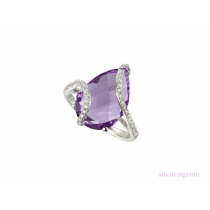 Sterling Silver 'Spiral' Pear Shaped Amethyst & CZ Dress Ring