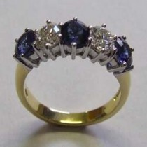 18ct Yellow gold sapphire and diamond half eternity ring.