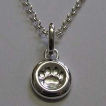 "16"" pawprint tag necklace, by Molly Brown."