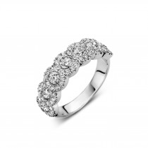Platinum & Diamond 'Sophie' 7 Stone Cluster Half Eternity Ring by Bloch