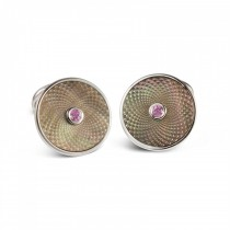 DEAKIN & FRANCIS - Sterling Silver Grey MOP Cufflinks with a Pink Sapphire Gem