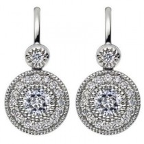 18ct White Gold Vintage Mastercut Diamond Cluster Drop Earrings.