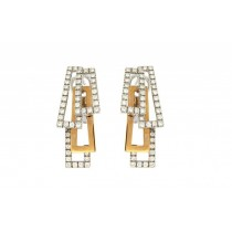 Chimento - 18ct White, Rose Gold & Diamond 'Domino' Earrings