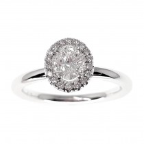 Platinum & Diamond Oval Halo Ring by Bloch