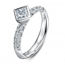 'Empress' Platinum & Diamond Solitaire Ring by Andrew Geoghegan