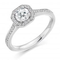 Round Brilliant Cut Diamond Engagement Ring with Diamond Set Halo
