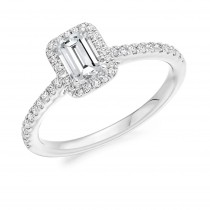18ct White Gold & Diamond Halo Emerald Cut Engagement Ring