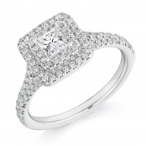 Princess Cut Diamond & Double Halo Engagement Ring