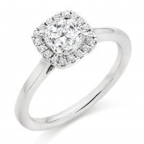Cushion Cut Diamond Engagement Ring with Diamond Set Halo