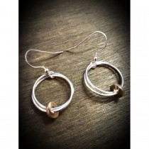 Yulan - 'Fallon' Sterling Silver Drop Earrings with Red Gold Disc