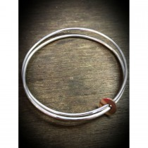 Yulan - 'Fallon' Sterling Silver Bangle with Red Gold Disc