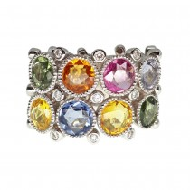 18ct White gold, multi sapphire and diamond fancy ring.