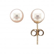 9CT 6.5MM YELLOW GOLD CULTURED PEARL STUD EARRINGS