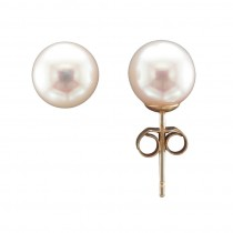 9CT 7MM YELLOW GOLD CULTURED PEARL STUD EARRINGS