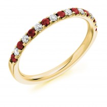 RUBY & DIAMOND HALF ETERNITY RING. HET1023 RUD