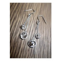 """Yulan - """"Q"""" Sterling Silver Double Drop Earrings on Chain"""