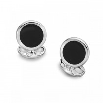 DEAKIN & FRANCIS - Sterling Silver Round Cufflinks with Onyx Inlay