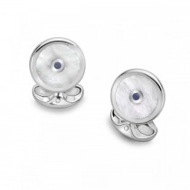 Deakin & Francis - Sterling Silver Round Cufflinks with Mother of Pearl and Sapphire