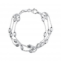 Links of London - Essentials Sterling Silver Beaded Chain 3 Row Bracelet. 5010.2595