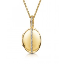 18ct Yellow Gold & Diamond Set Locket with Adjustable Chain by Charles Green