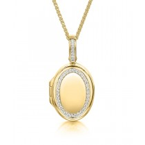 18ct Yellow Gold & Diamond Set Oval Locket with Adjustable Chain
