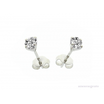 Sterling Silver April Birthstone Cubic Zirconia Purity Earrings