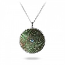 DEAKIN & FRANCIS - Sterling Silver Large Pendant with Grey Mother of Pearl and an Aquamarine Gem