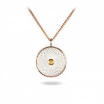DEAKIN & FRANCIS - Sterling Silver Small Pendant with White Mother of Pearl and a Yellow Sapphire Gem