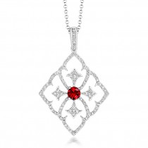 Tivon - 'Versailles' 18k White Gold Ruby & Diamond Pendant
