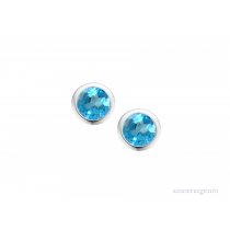 Sterling Silver December Birthstone Blue Topaz Orbit Earrings