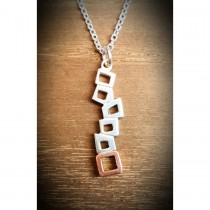Yulan - 'Quadra' Sterling Silver Multi Block Pendant with Red Gold