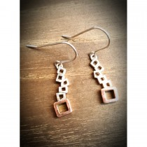 Yulan - 'Quadra' Sterling Silver Multi Block Drop Earrings with Red Gold