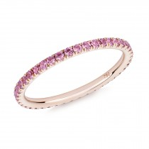 18CT ROSE GOLD AND PINK SAPPHIRE MICRO-SET ETERNITY RING