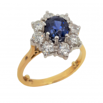 Ladies PRE OWNED 18ct Yellow Gold Sapphire & Diamond Cluster Ring
