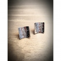Yulan - 'Reflections' Sterling Silver Plannish Small Stud Earrings