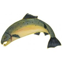 18ct Yellow Gold and Enamel leaping Salmon