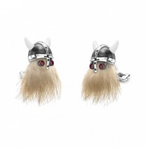 Deakin & Francis - Hairy Viking Skull with Black Helmet and Ruby Eye Cufflinks