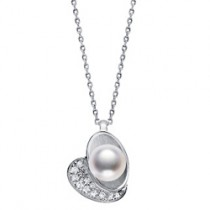 Mikimoto 18k White Gold, Pearl & Diamond 'Wonder' Pendant