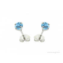 Sterling Silver December Birthstone Blue Topaz Purity Earrings