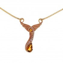 18ct yellow gold 'swan'pendant set with Madeira Citrine and Diamonds on chain