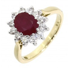 18CT YELLOW GOLD, RUBY & DIAMOND CLUSTER RING